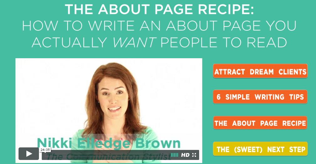 Photo : Nikki Elledge Brown - A Course About Copy The About Page Recipe