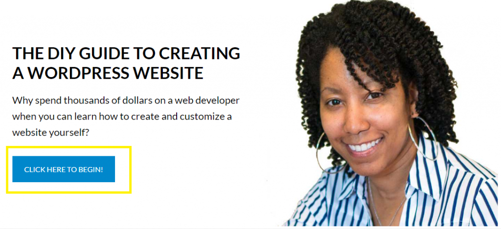 Lisa Irby 2createawebsite Call to Action Example