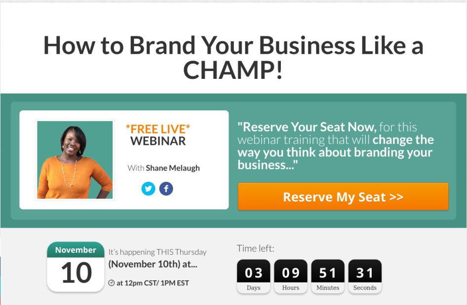 Webinar Registration Page Built with Thrive Content Builder
