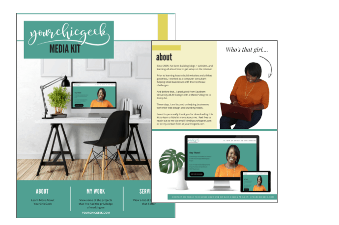 Canva for work part 2 7 creative ways bloggers can use canva for visual design yourchicgeek for Media kit canva