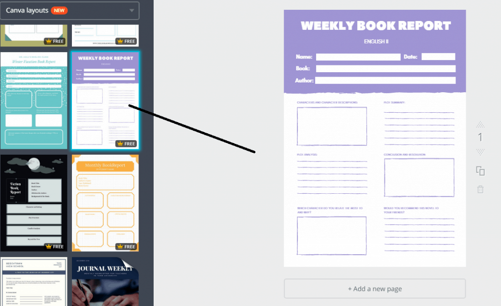 Select the Weekly Book Report Template and Click on It