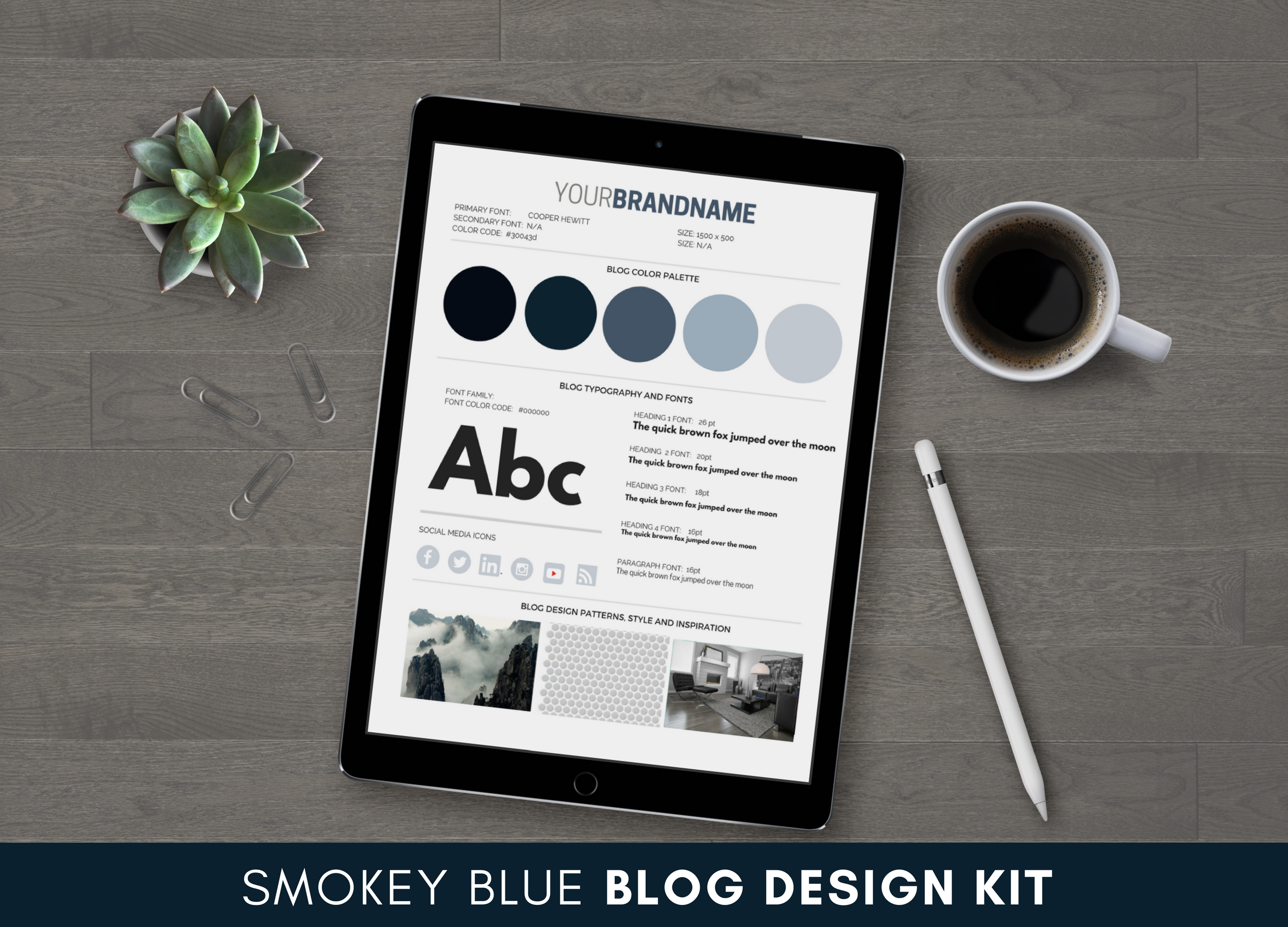 Smokey Blue Blog Design Kit