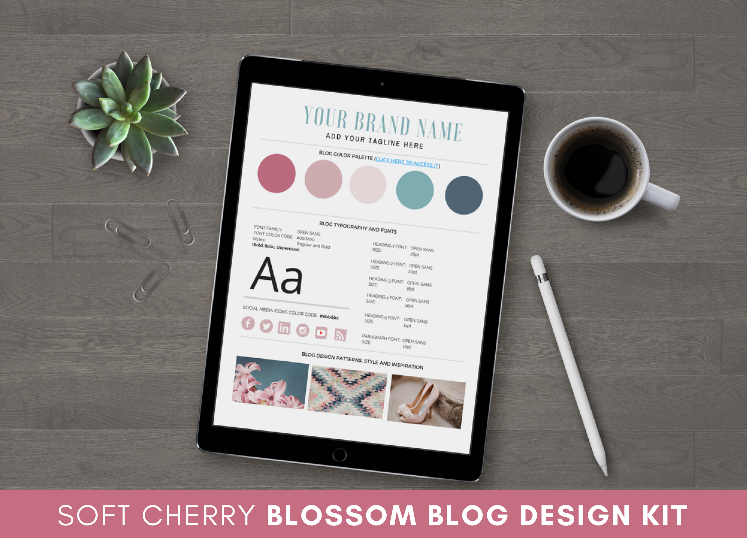 Soft Cherry Blossom Blog Design Kit