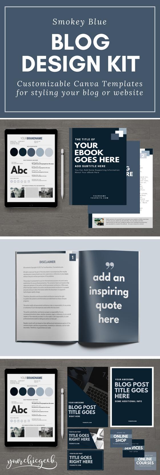 Smokey Blue Blog and Website Design Kit