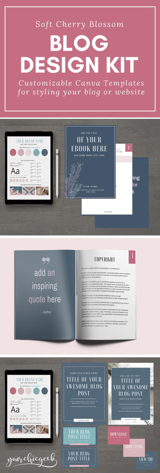 Soft Cherry Blossom Magenta Blog and Website Design Kit