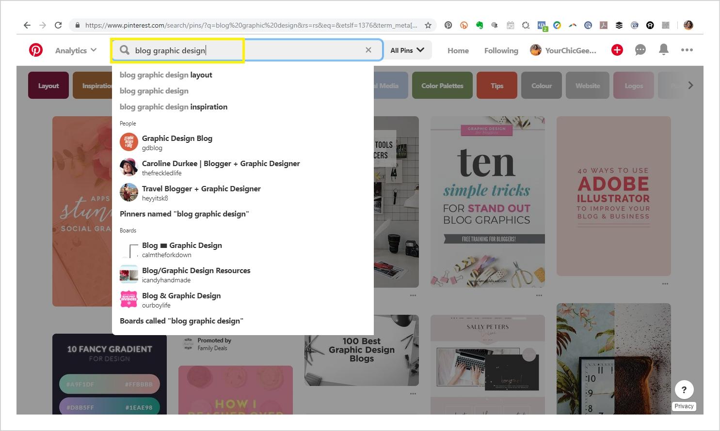 Pinterest Blog Graphic Design Search