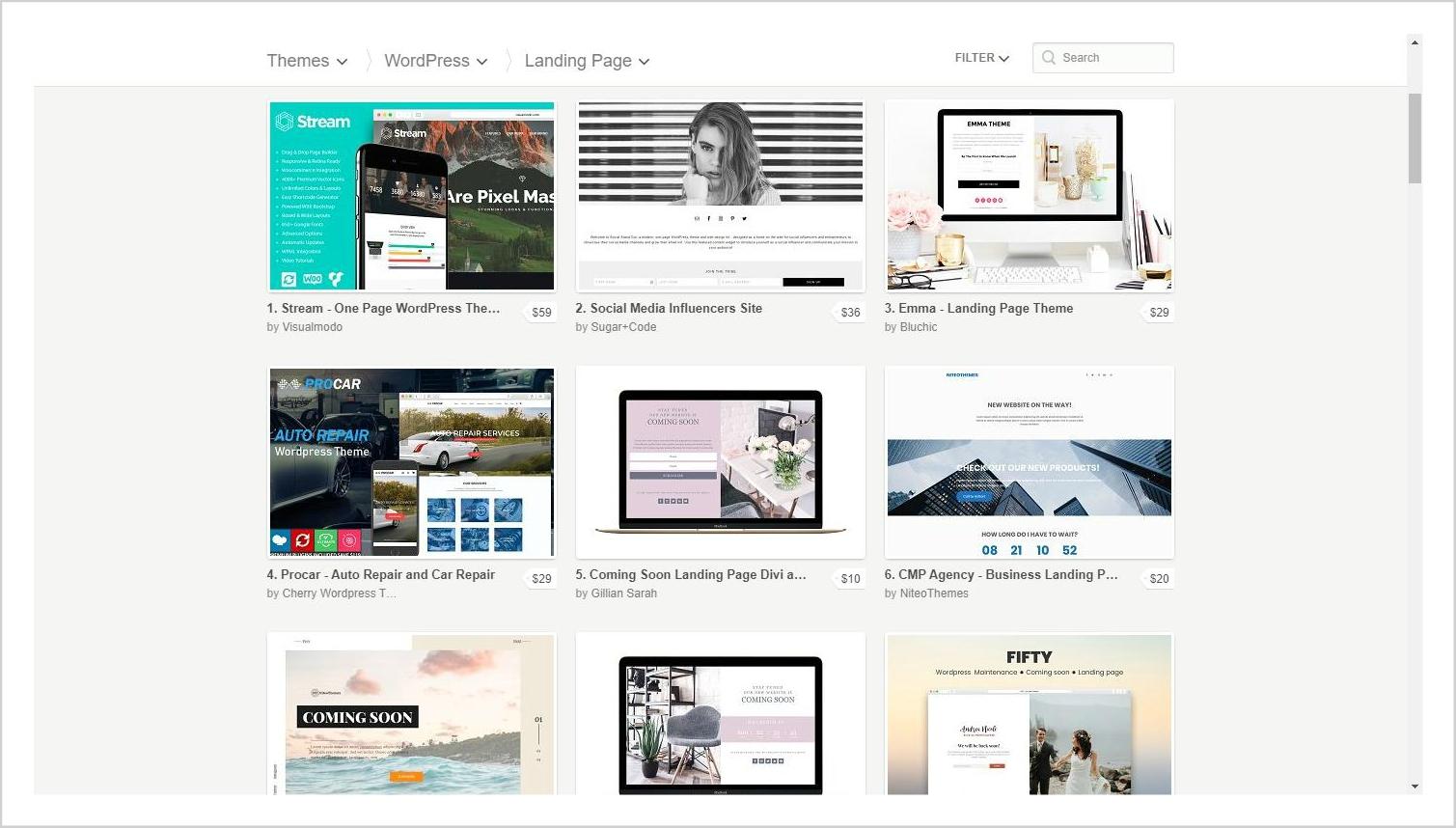 Creative Market Landing Page Templates