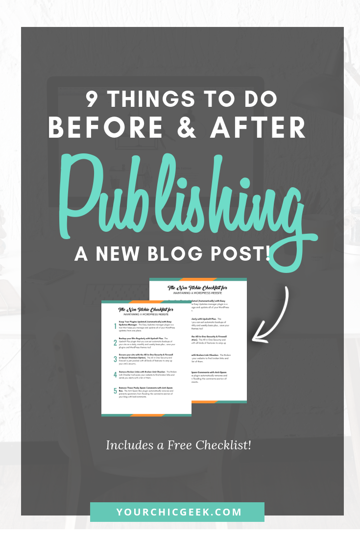 Before and After publishing a blog post